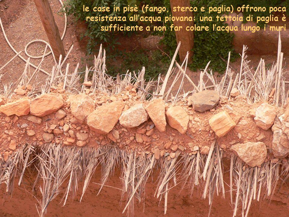 le case in pisè (fango, sterco e paglia) offrono poca resistenza all'acqua piovana: una tettoia di paglia è sufficiente a non far colare l'acqua lungo i muri