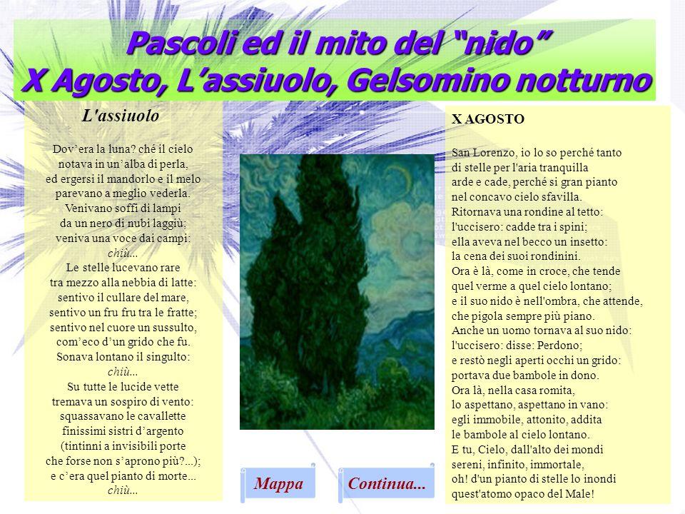 Pascoli ed il mito del nido X Agosto, L'assiuolo, Gelsomino notturno
