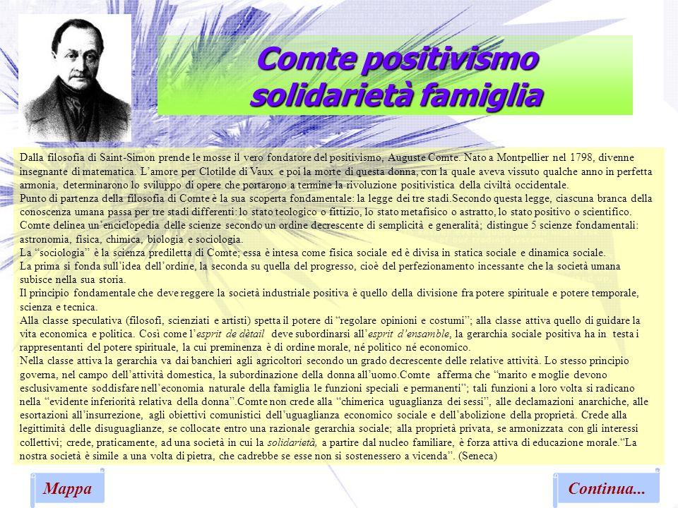 Comte positivismo solidarietà famiglia