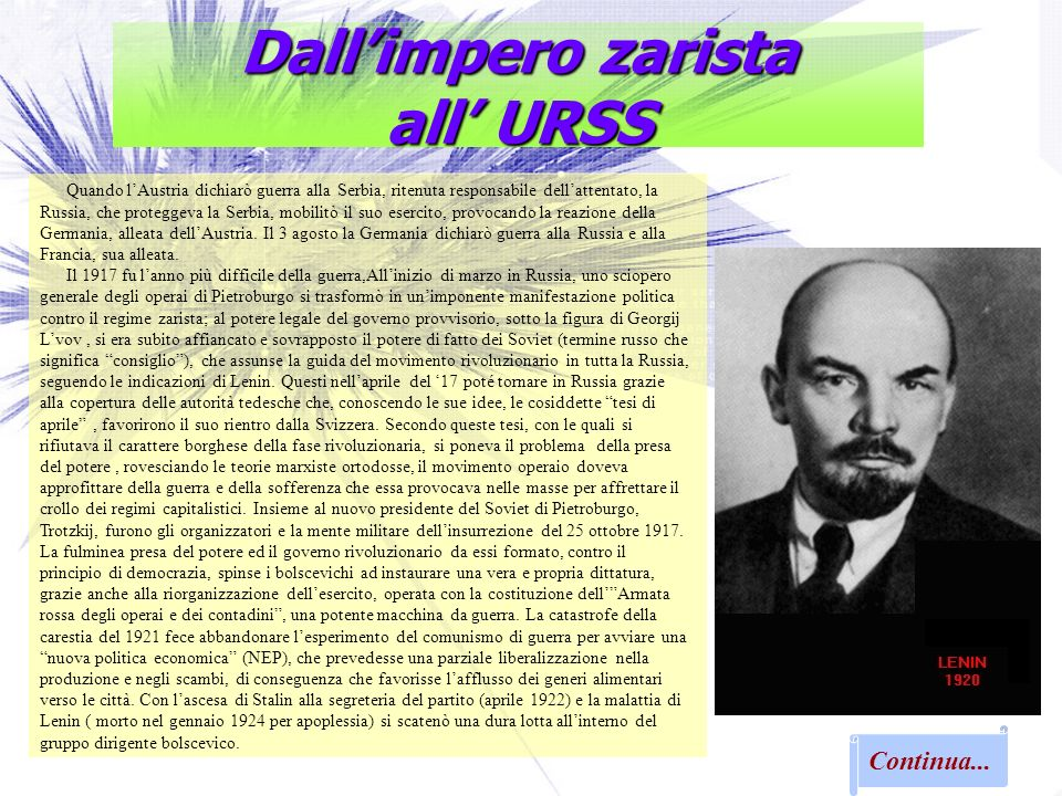 Dall'impero zarista all' URSS