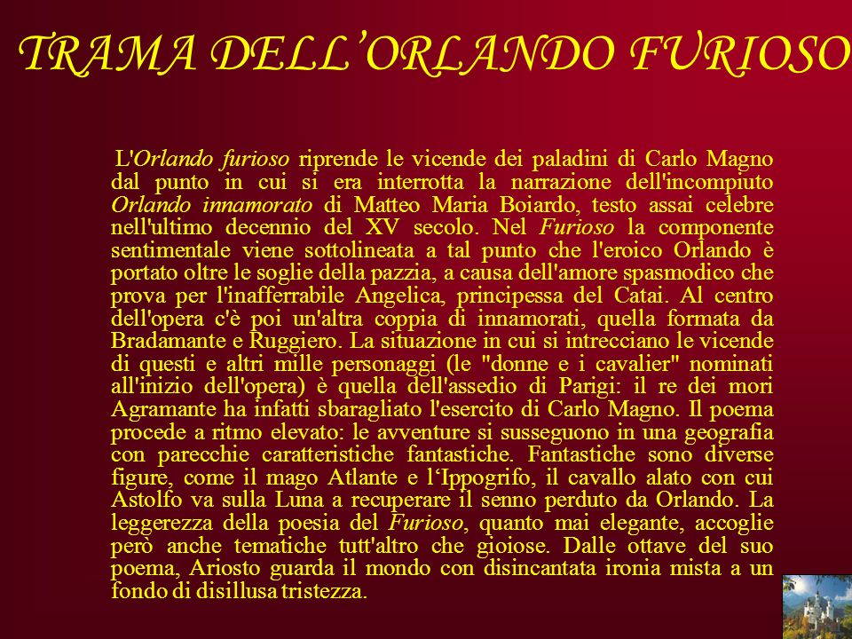 TRAMA DELL'ORLANDO FURIOSO