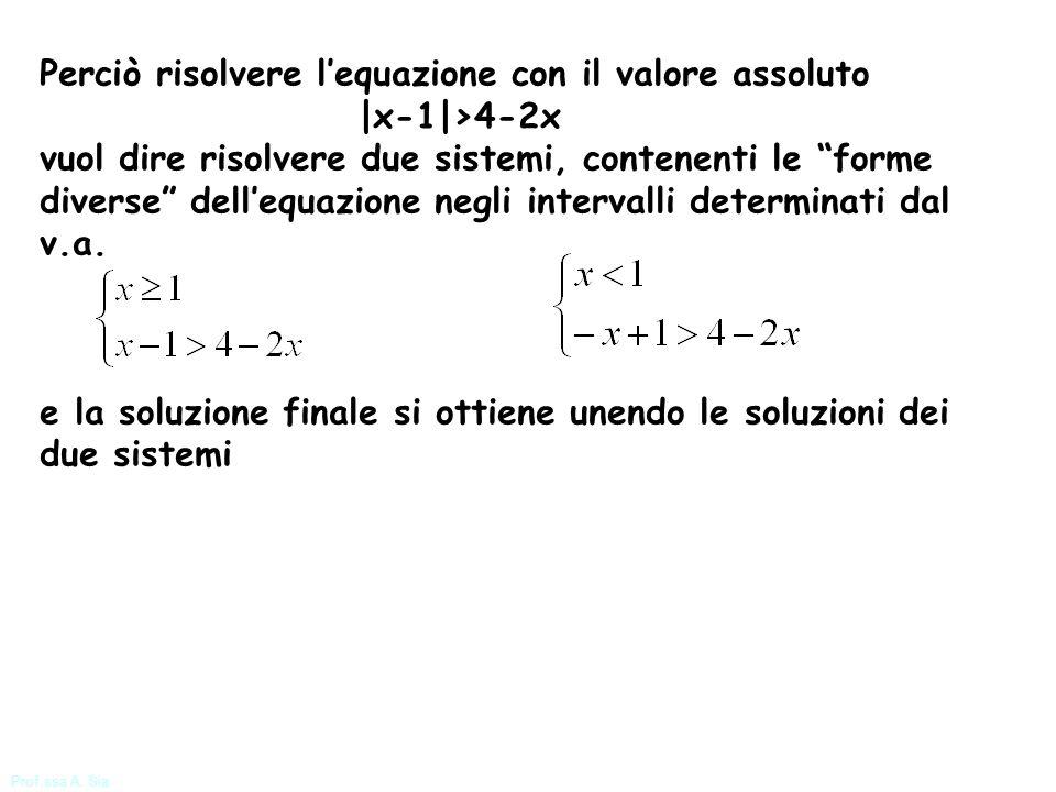 Perciò risolvere l'equazione con il valore assoluto |x-1|>4-2x