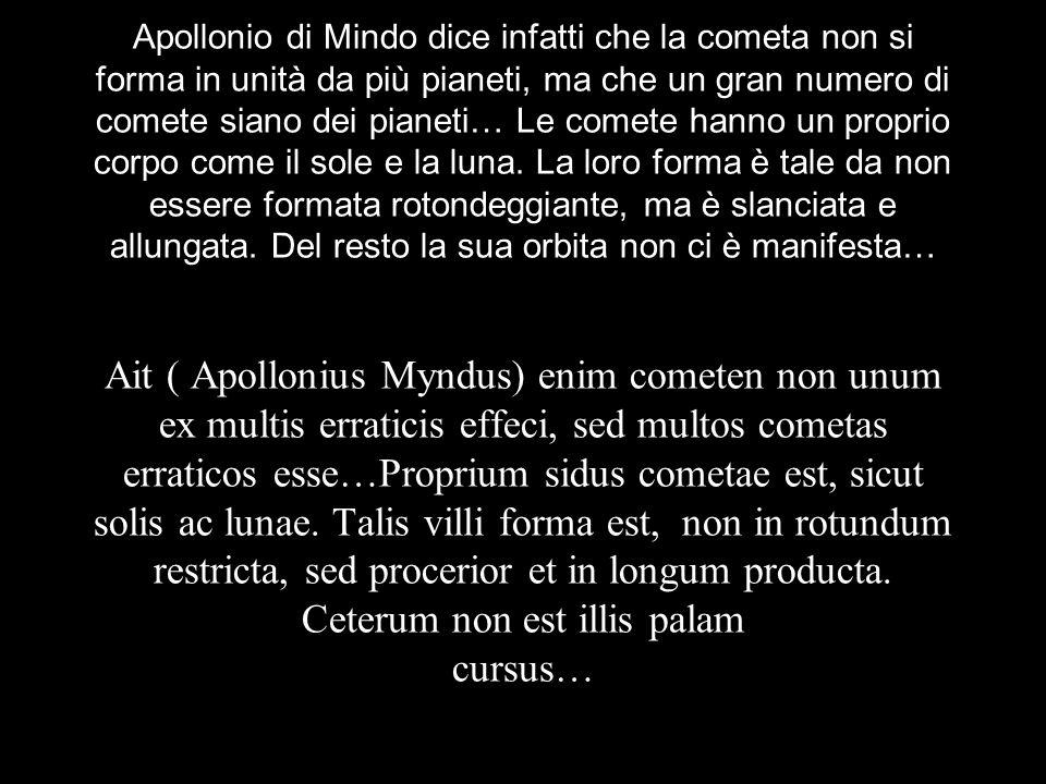 Apollonio di Mindo dice infatti che la cometa non si forma in unità da più pianeti, ma che un gran numero di comete siano dei pianeti… Le comete hanno un proprio corpo come il sole e la luna.