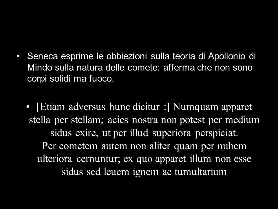 Seneca esprime le obbiezioni sulla teoria di Apollonio di Mindo sulla natura delle comete: afferma che non sono corpi solidi ma fuoco.