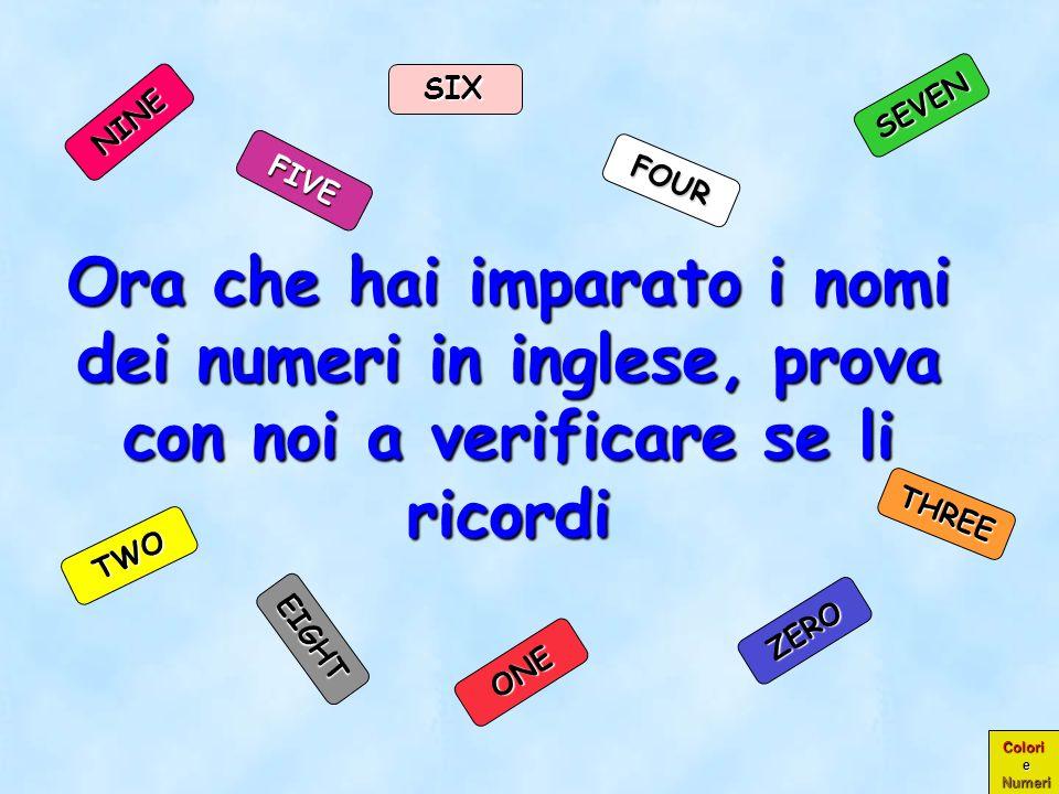 SIXSEVEN. NINE. FIVE. FOUR. Ora che hai imparato i nomi dei numeri in inglese, prova con noi a verificare se li ricordi.