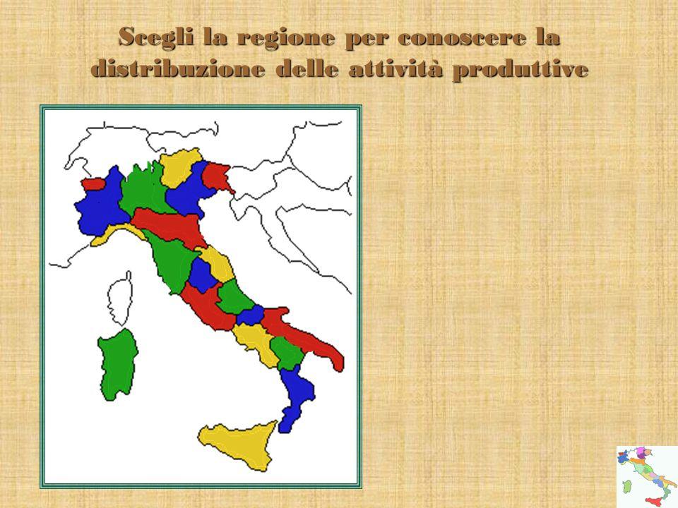 Scegli la regione per conoscere la distribuzione delle attività produttive