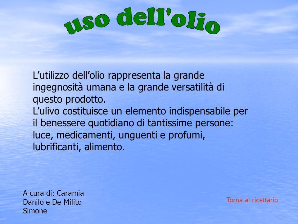 uso dell olio L'utilizzo dell'olio rappresenta la grande ingegnosità umana e la grande versatilità di questo prodotto.
