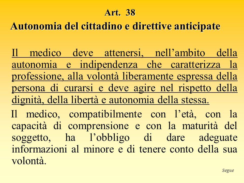 Autonomia del cittadino e direttive anticipate