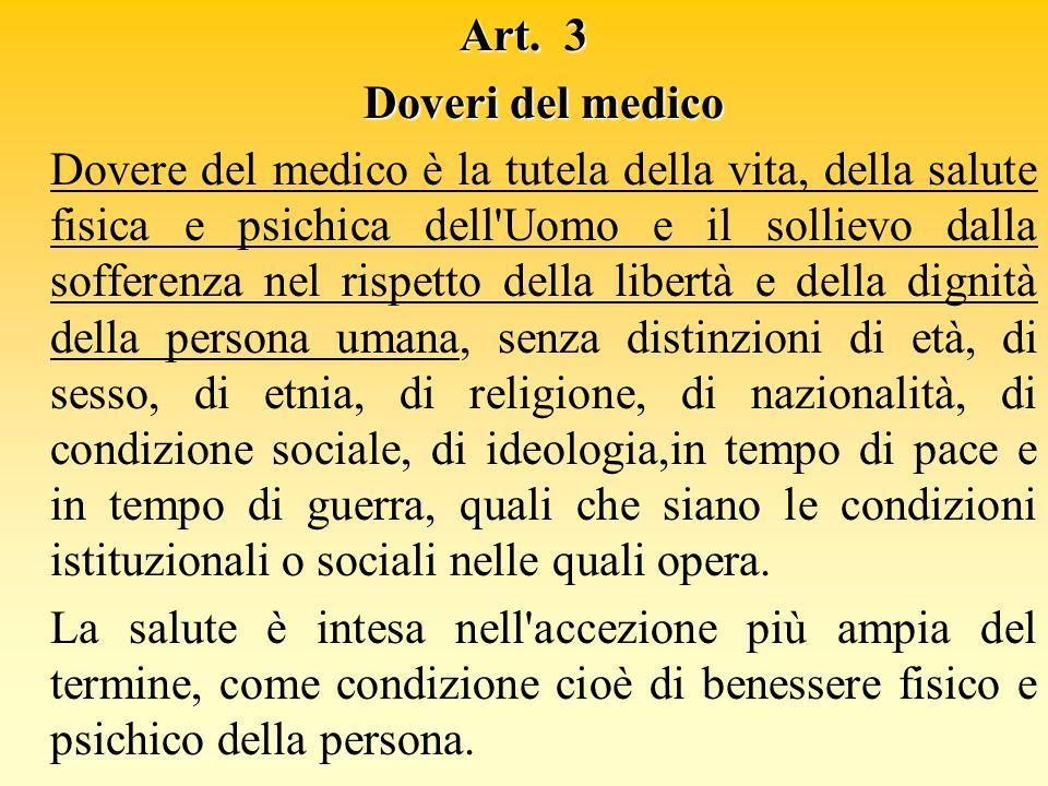 Art. 3 Doveri del medico.