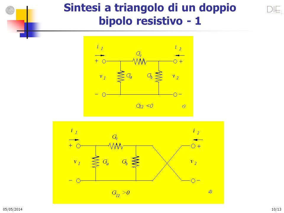 Sintesi a triangolo di un doppio bipolo resistivo - 1