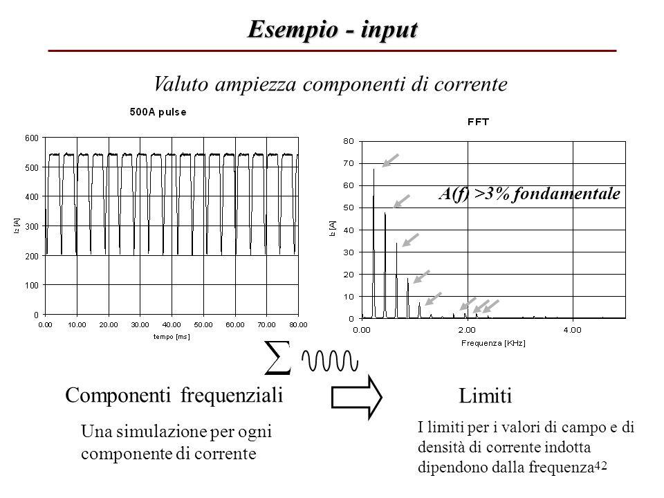 Esempio - input Valuto ampiezza componenti di corrente