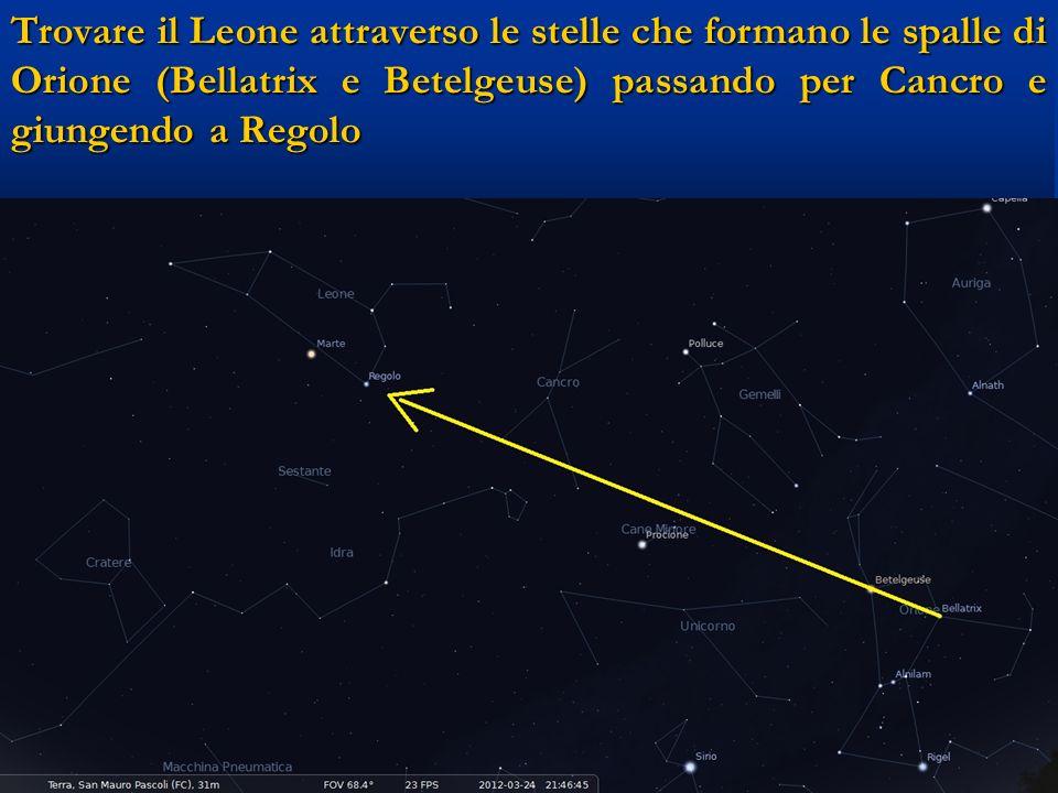 Trovare il Leone attraverso le stelle che formano le spalle di Orione (Bellatrix e Betelgeuse) passando per Cancro e giungendo a Regolo