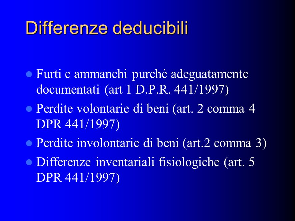 Differenze deducibili
