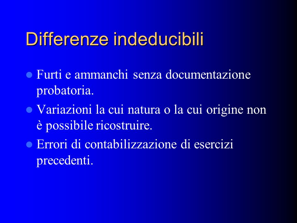 Differenze indeducibili