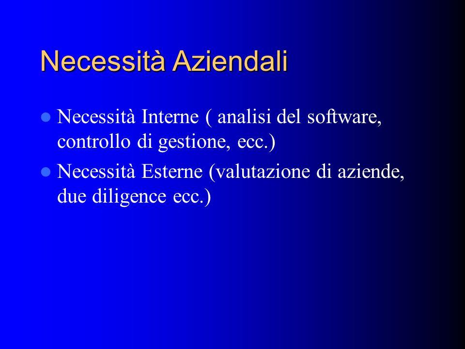 Necessità Aziendali Necessità Interne ( analisi del software, controllo di gestione, ecc.)