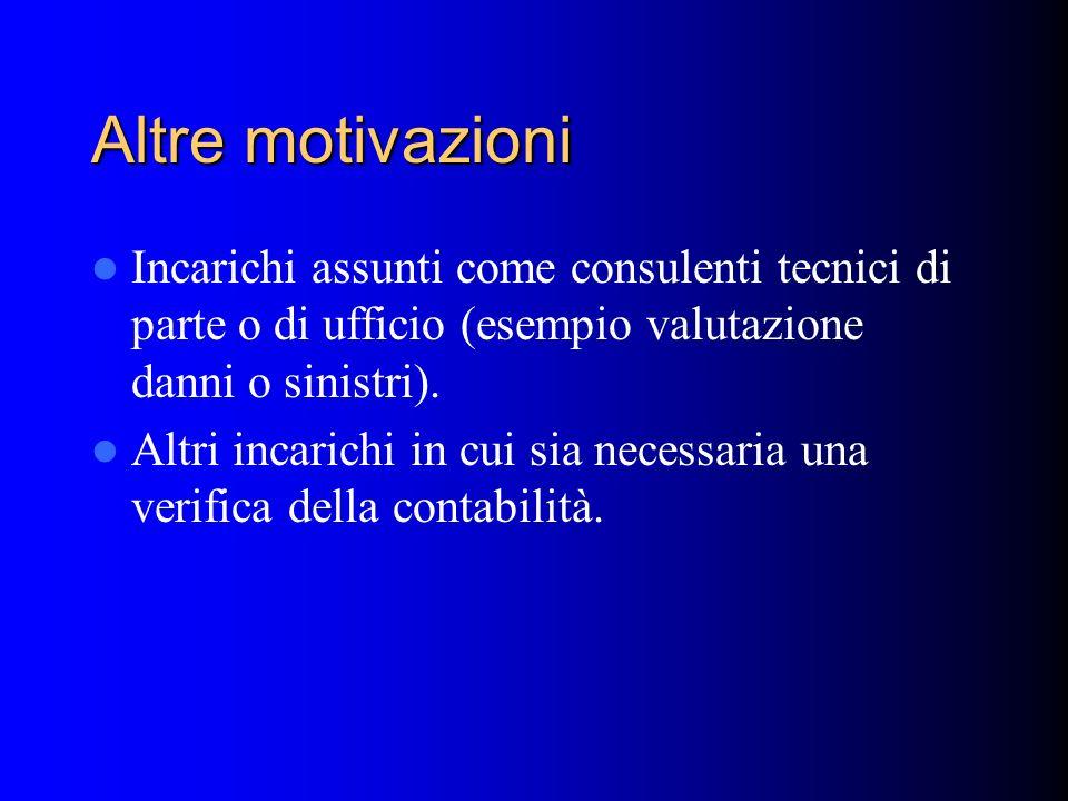Altre motivazioni Incarichi assunti come consulenti tecnici di parte o di ufficio (esempio valutazione danni o sinistri).