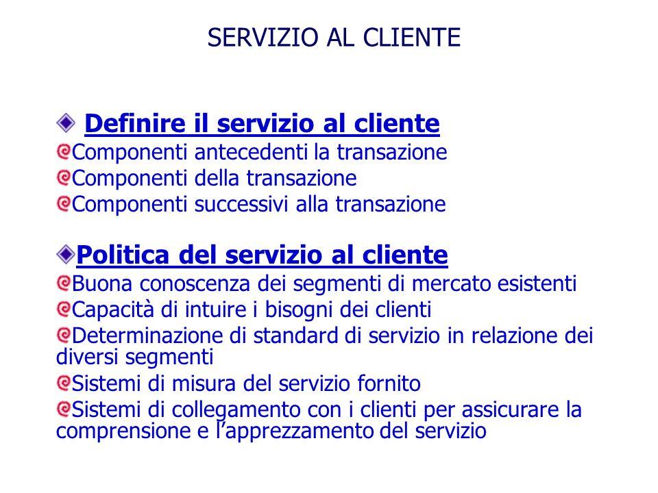 Definire il servizio al cliente