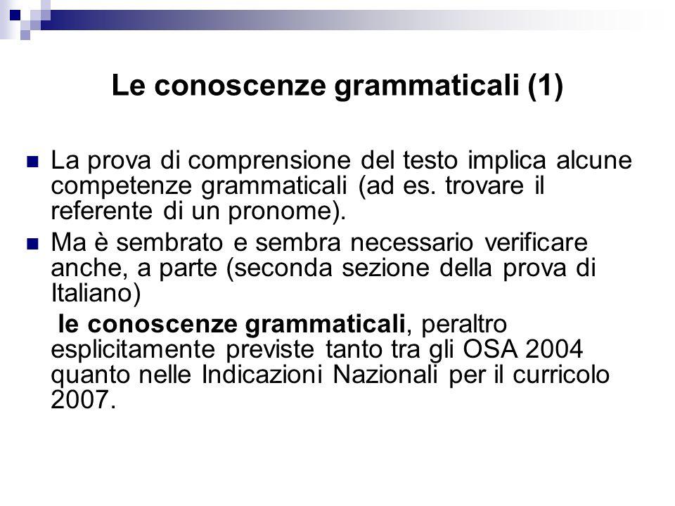 Le conoscenze grammaticali (1)