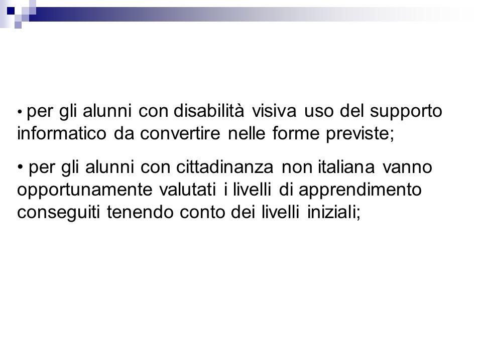 • per gli alunni con disabilità visiva uso del supporto informatico da convertire nelle forme previste;