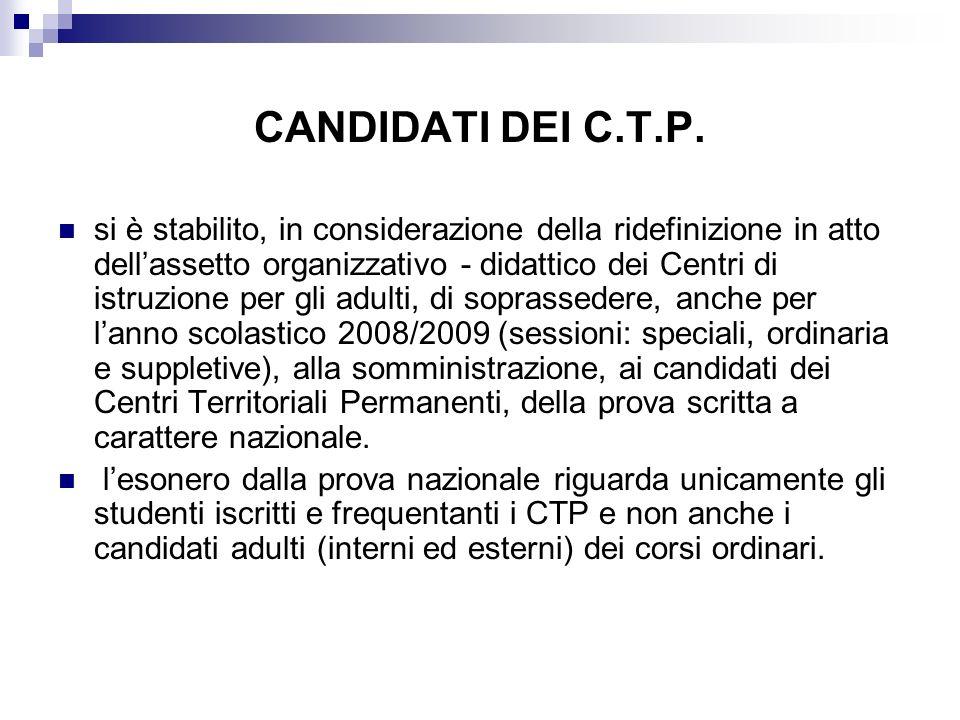 CANDIDATI DEI C.T.P.
