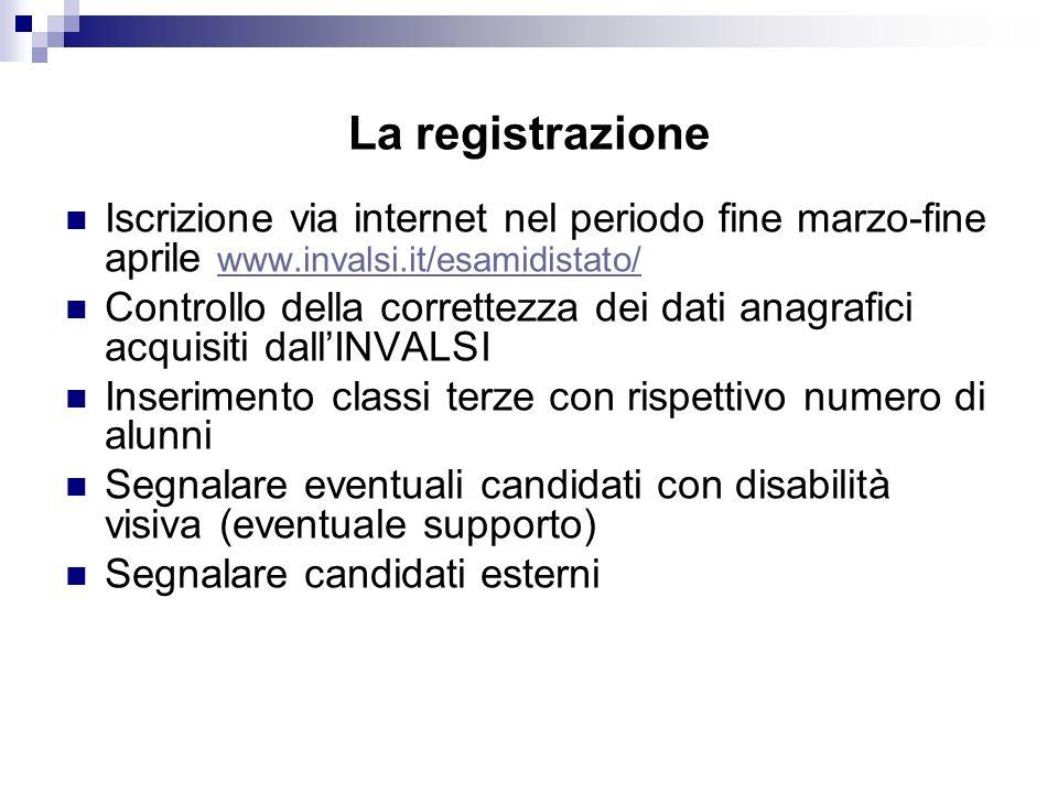 La registrazione Iscrizione via internet nel periodo fine marzo-fine aprile www.invalsi.it/esamidistato/