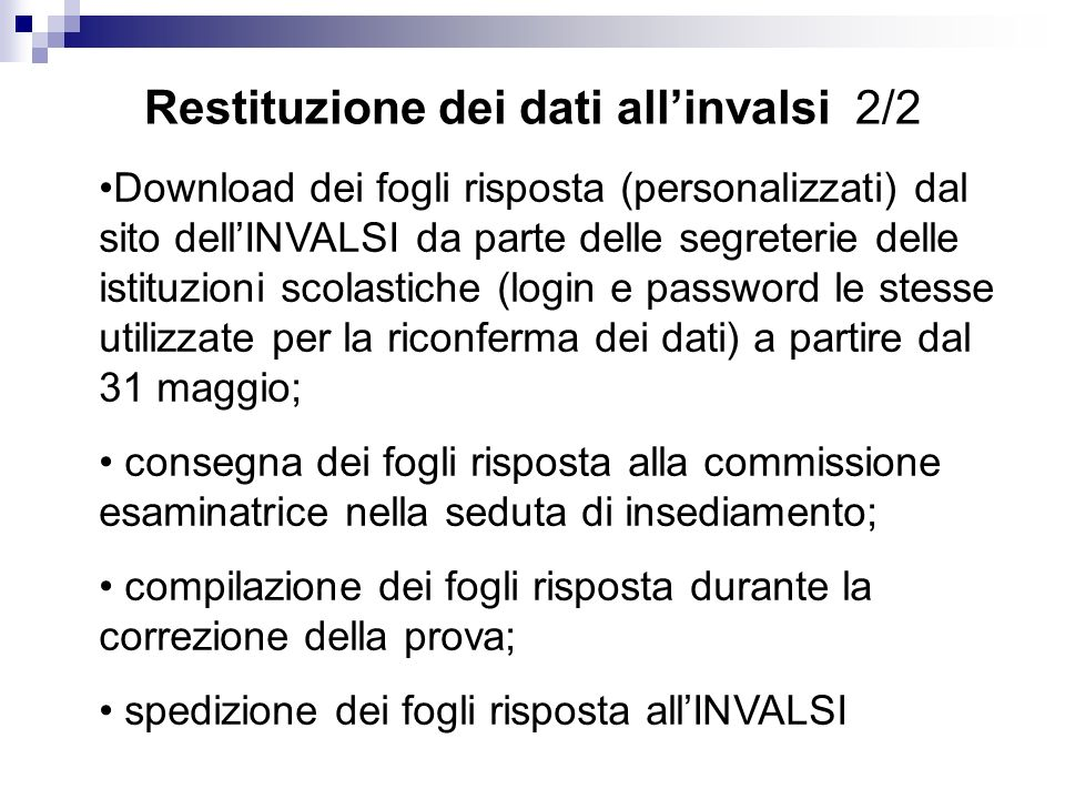 Restituzione dei dati all'invalsi 2/2