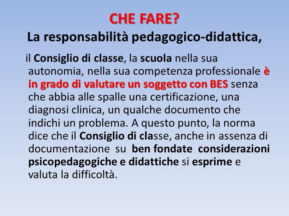 CHE FARE La responsabilità pedagogico-didattica,
