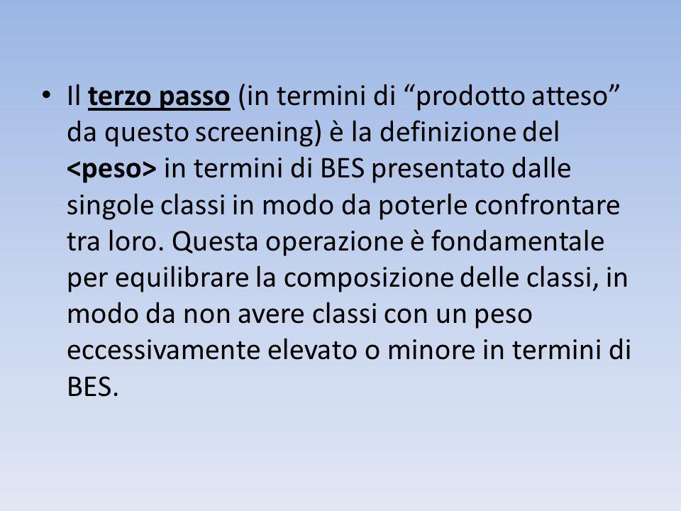 Il terzo passo (in termini di prodotto atteso da questo screening) è la definizione del <peso> in termini di BES presentato dalle singole classi in modo da poterle confrontare tra loro.