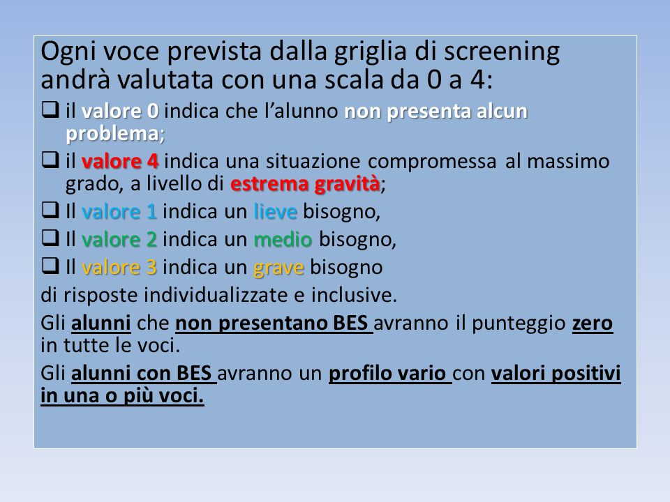 Ogni voce prevista dalla griglia di screening andrà valutata con una scala da 0 a 4:
