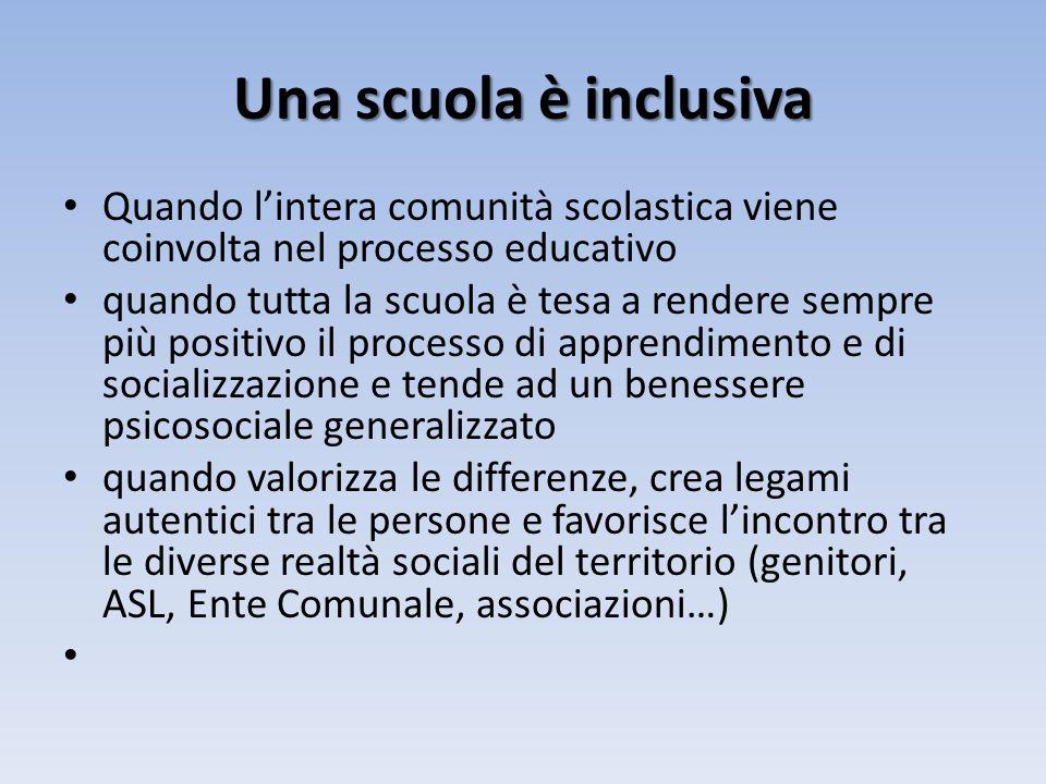 Una scuola è inclusiva Quando l'intera comunità scolastica viene coinvolta nel processo educativo.