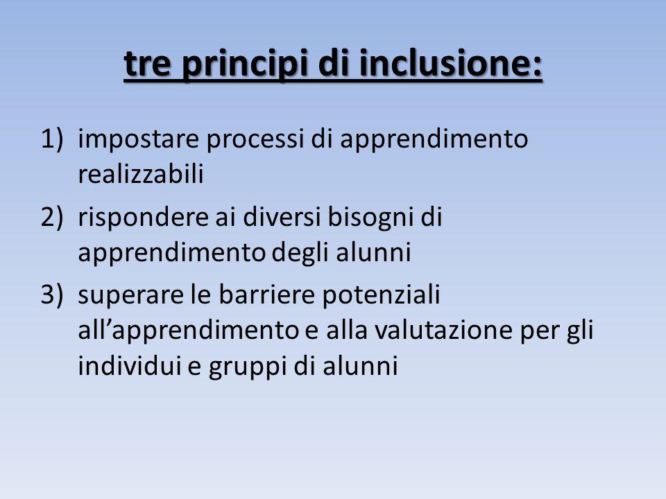 tre principi di inclusione: