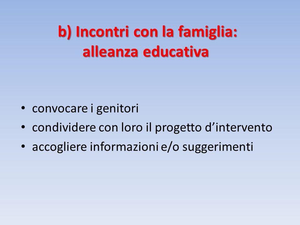 b) Incontri con la famiglia: alleanza educativa