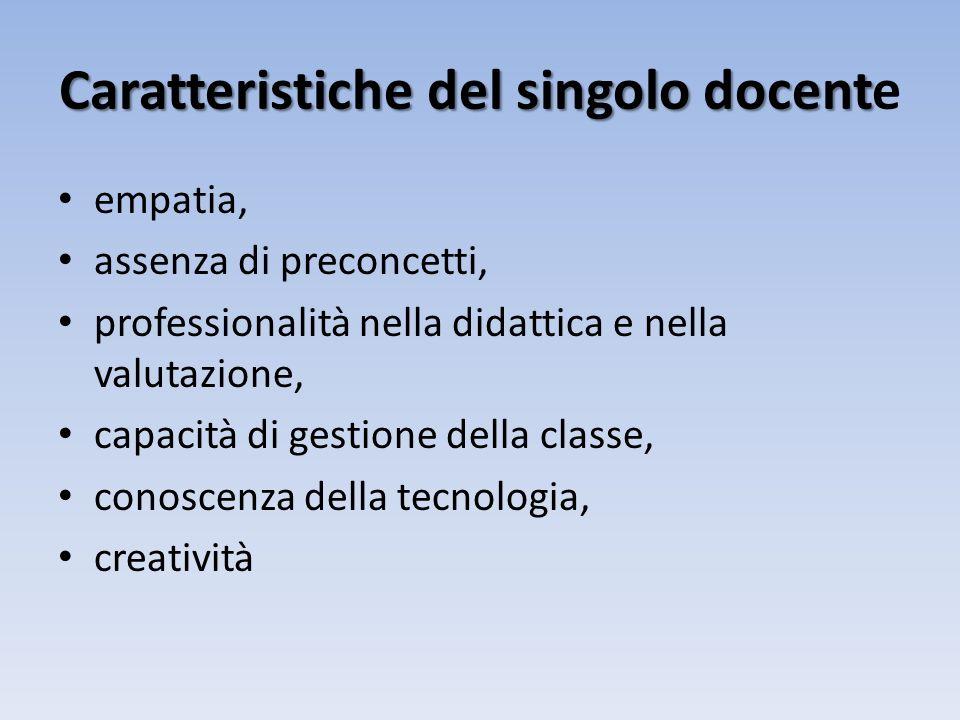 Caratteristiche del singolo docente