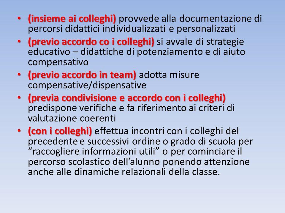 (insieme ai colleghi) provvede alla documentazione di percorsi didattici individualizzati e personalizzati