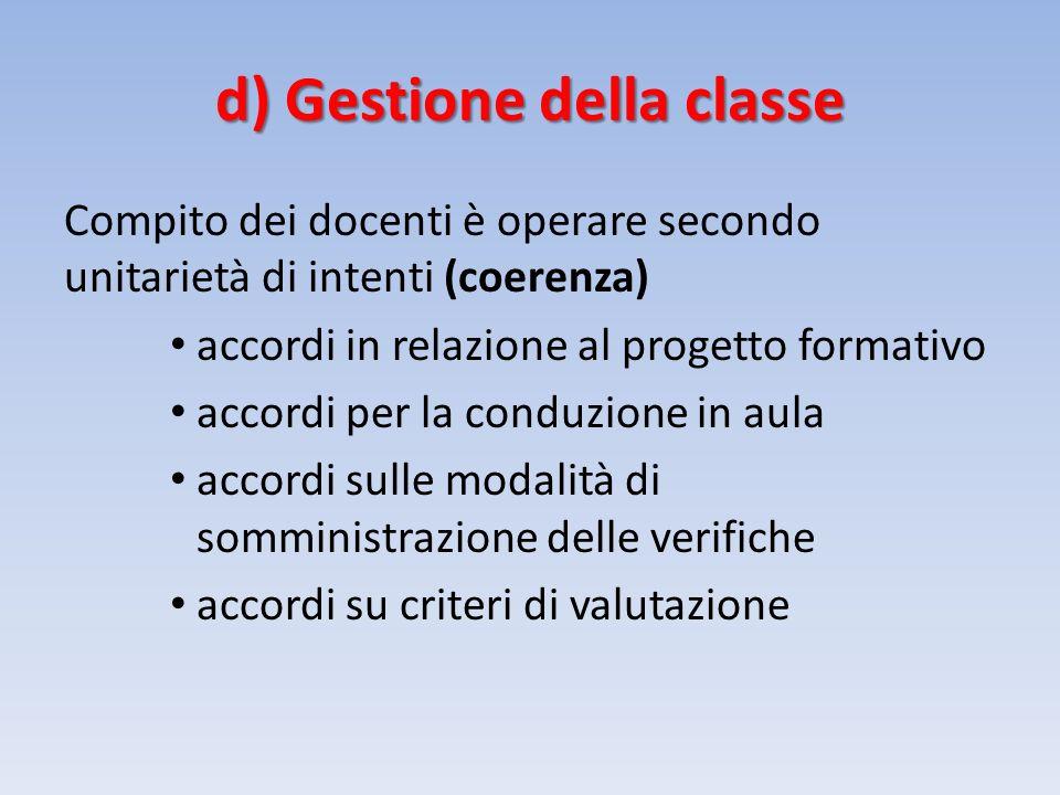 d) Gestione della classe