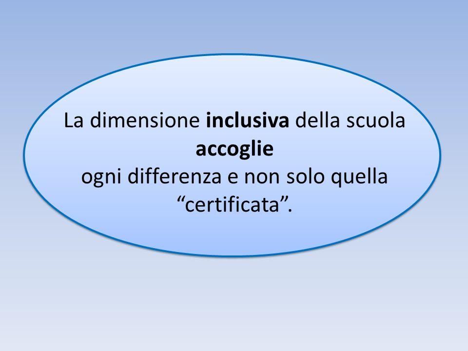La dimensione inclusiva della scuola accoglie ogni differenza e non solo quella certificata .