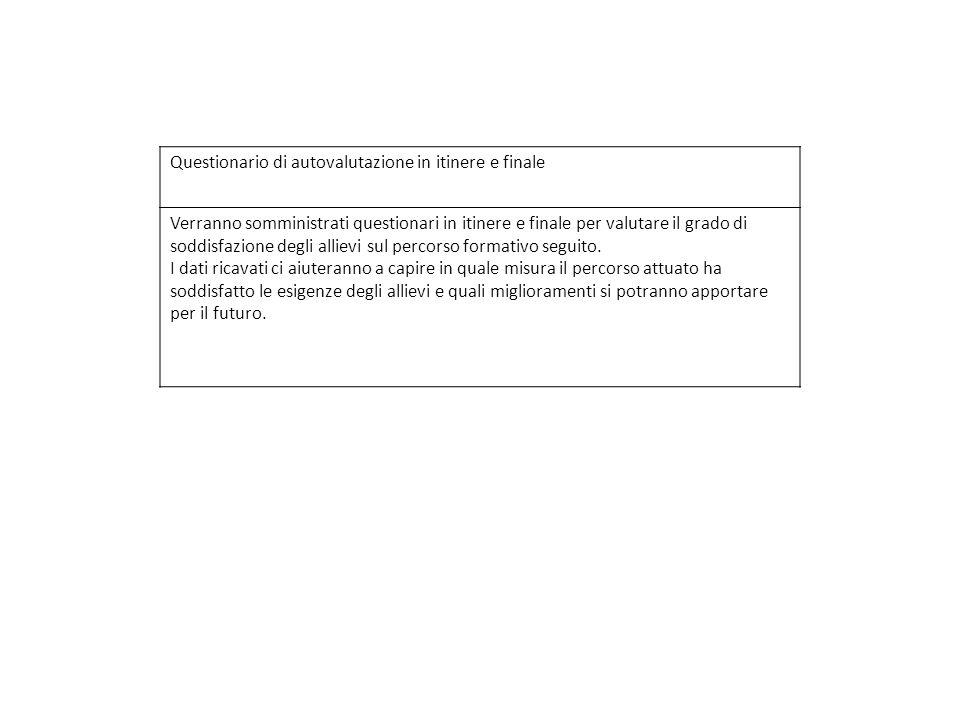 Questionario di autovalutazione in itinere e finale