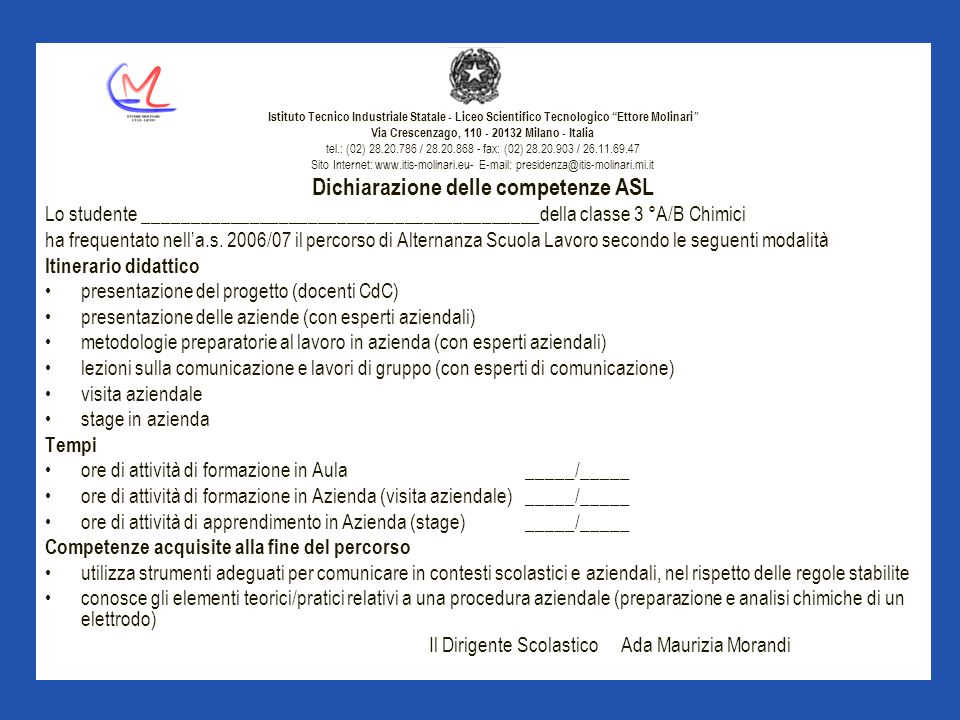 Dichiarazione delle competenze ASL