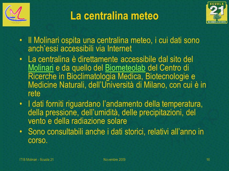 La centralina meteo Il Molinari ospita una centralina meteo, i cui dati sono anch'essi accessibili via Internet.