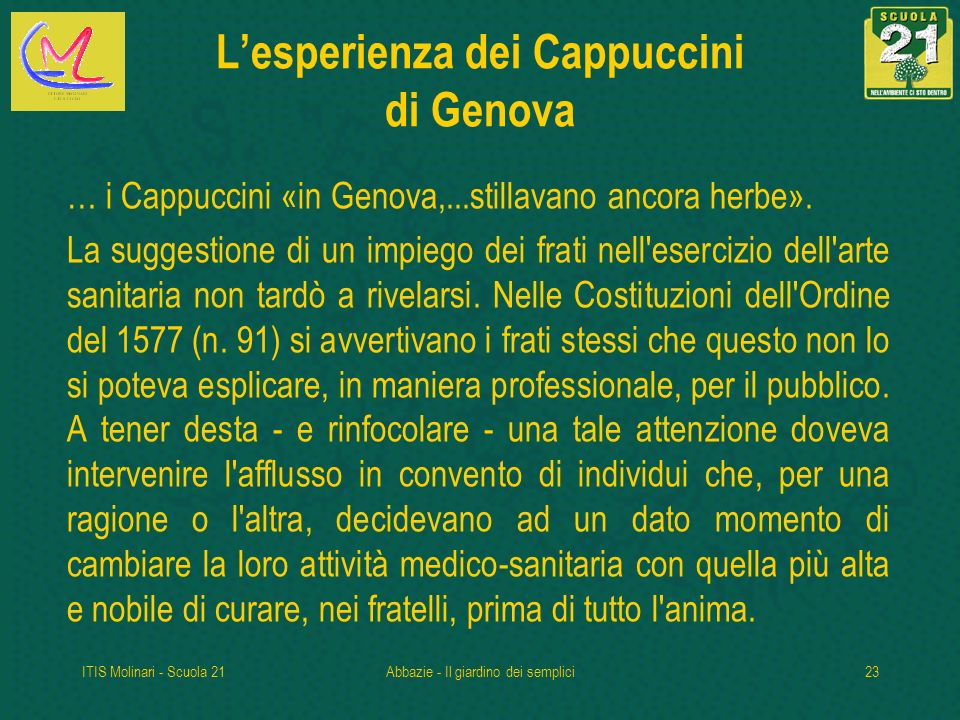 L'esperienza dei Cappuccini di Genova