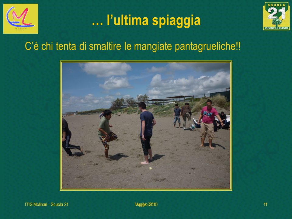 … l'ultima spiaggia C'è chi tenta di smaltire le mangiate pantagrueliche!! ITIS Molinari - Scuola 21.