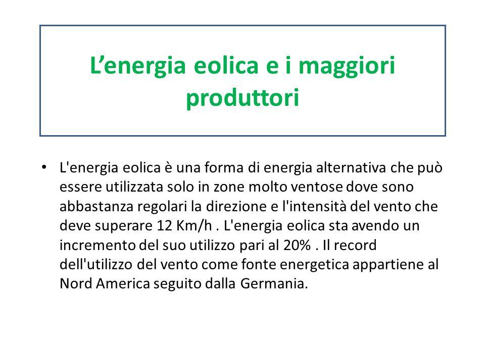 L'energia eolica e i maggiori produttori