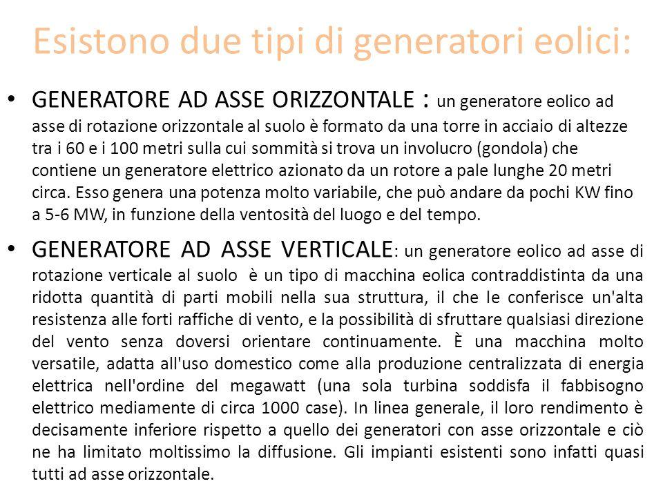 Esistono due tipi di generatori eolici: