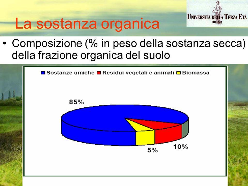 La sostanza organica Composizione (% in peso della sostanza secca) della frazione organica del suolo.