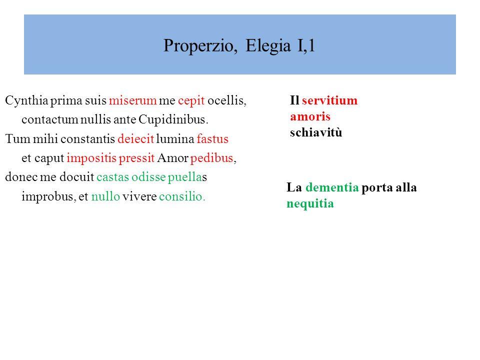 Properzio, Elegia I,1 Cynthia prima suis miserum me cepit ocellis,