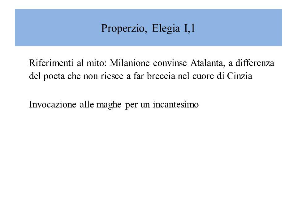 Properzio, Elegia I,1 Riferimenti al mito: Milanione convinse Atalanta, a differenza del poeta che non riesce a far breccia nel cuore di Cinzia.