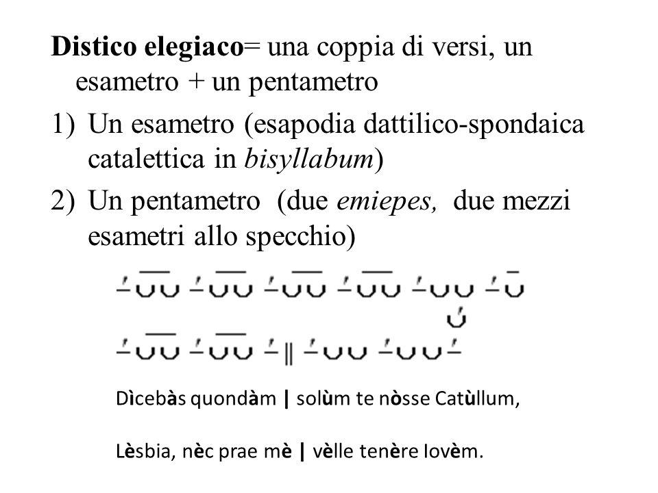 Distico elegiaco= una coppia di versi, un esametro + un pentametro