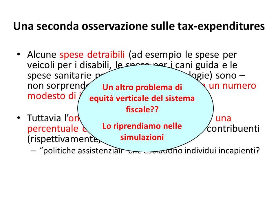 Una seconda osservazione sulle tax-expenditures