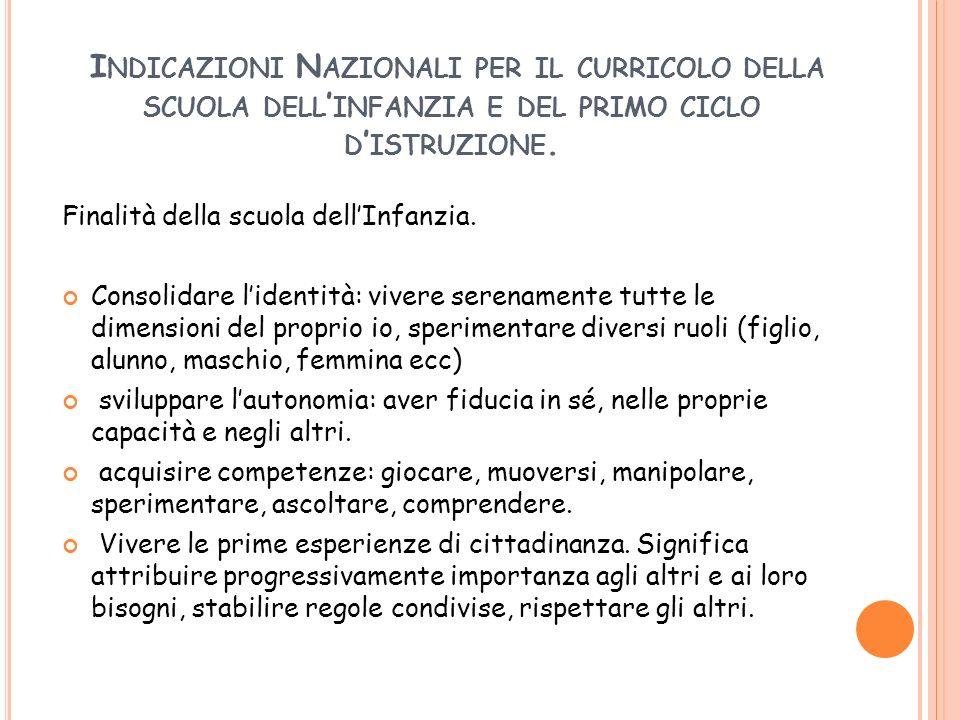 Indicazioni Nazionali per il curricolo della scuola dell'infanzia e del primo ciclo d'istruzione.