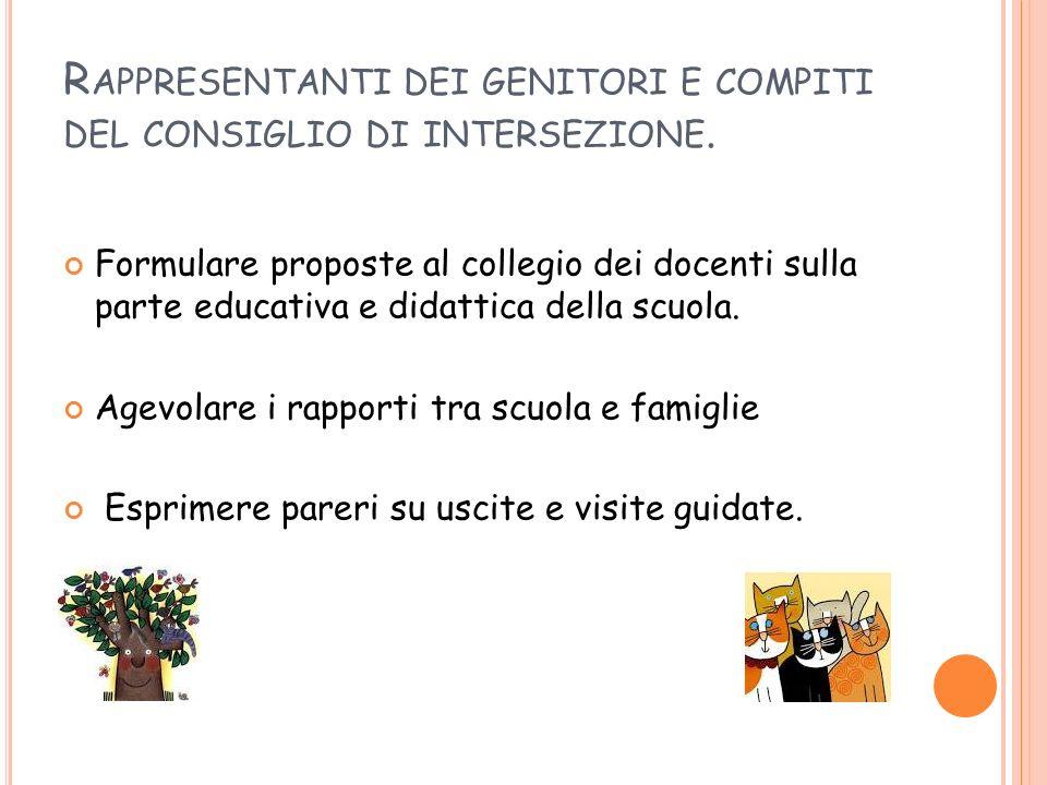 Rappresentanti dei genitori e compiti del consiglio di intersezione.